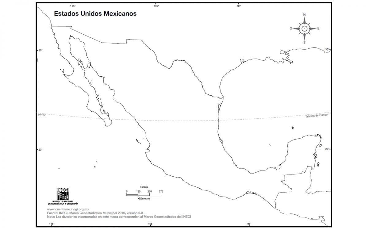 Mapa de México sin nombres