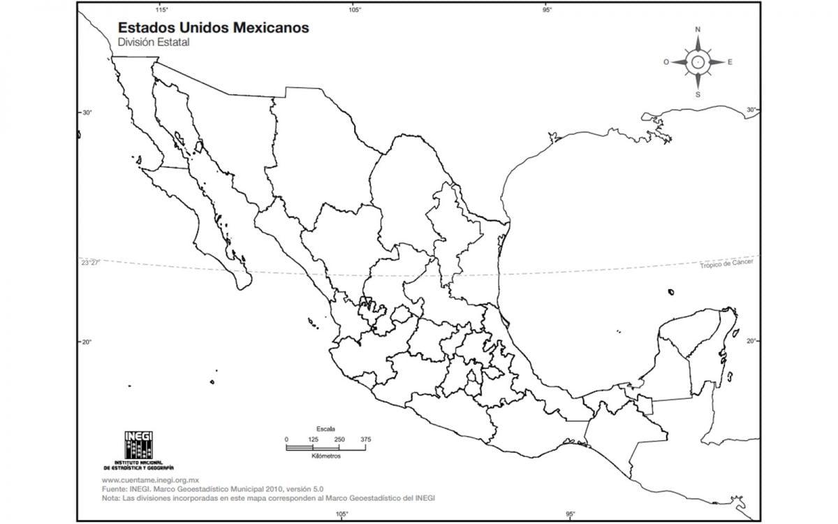 Mapa de México sin nombres y con división política