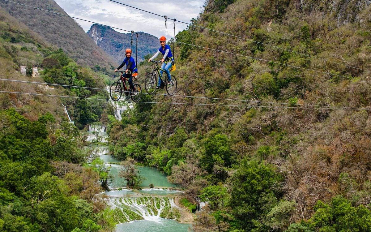 SkyBike en la Huasteca, cruza el cielo en bicicleta