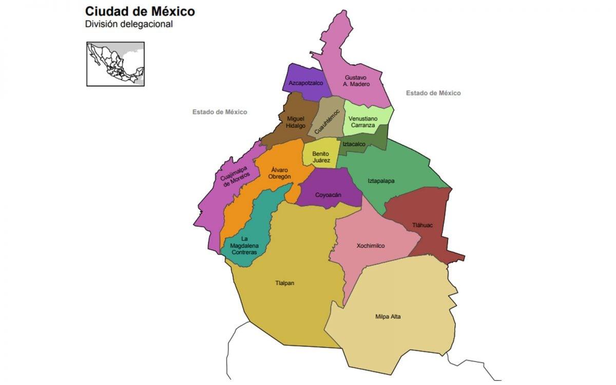 Mapa de la Ciudad de México (CDMX), área metropolitana