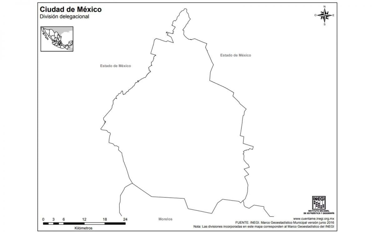 Mapa sin división política de la Ciudad de México.