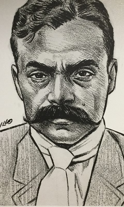Dibujo de Emiliano Zapata en Metro L-12
