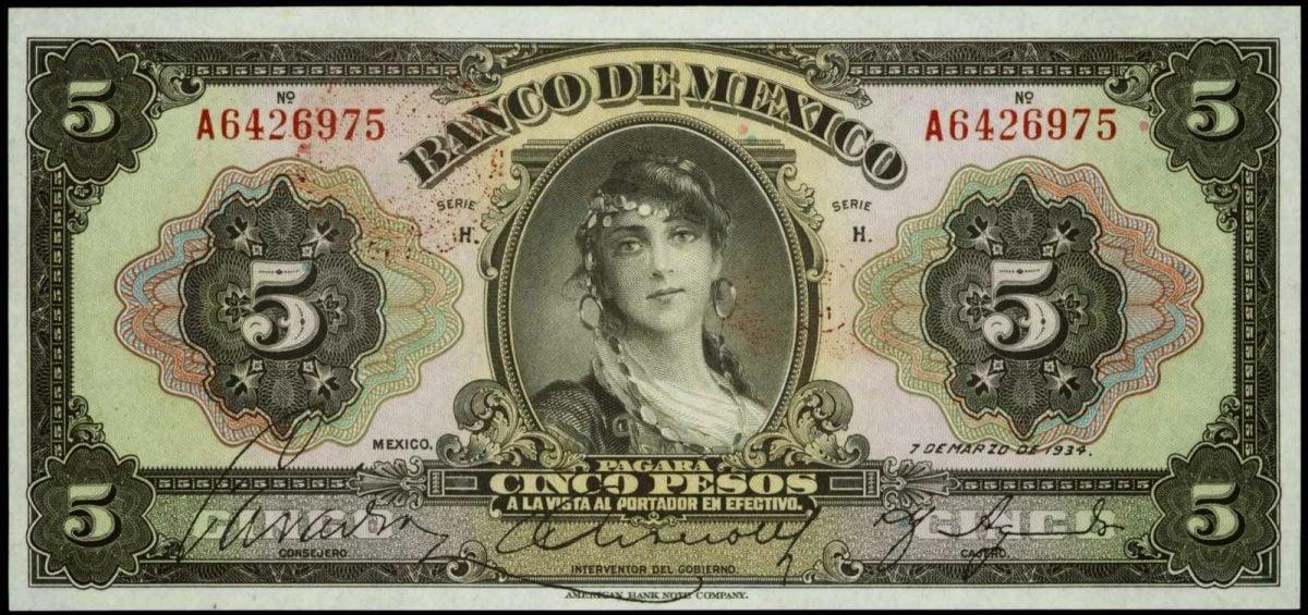 La 'amante' gitana impresa en el primer billete mexicano