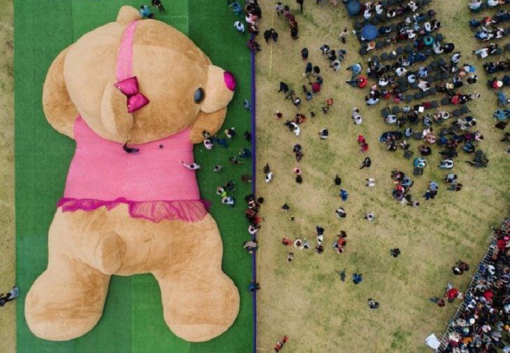 Xonita, la osa de peluche más grande del mundo rompió récord en Xonacatlán