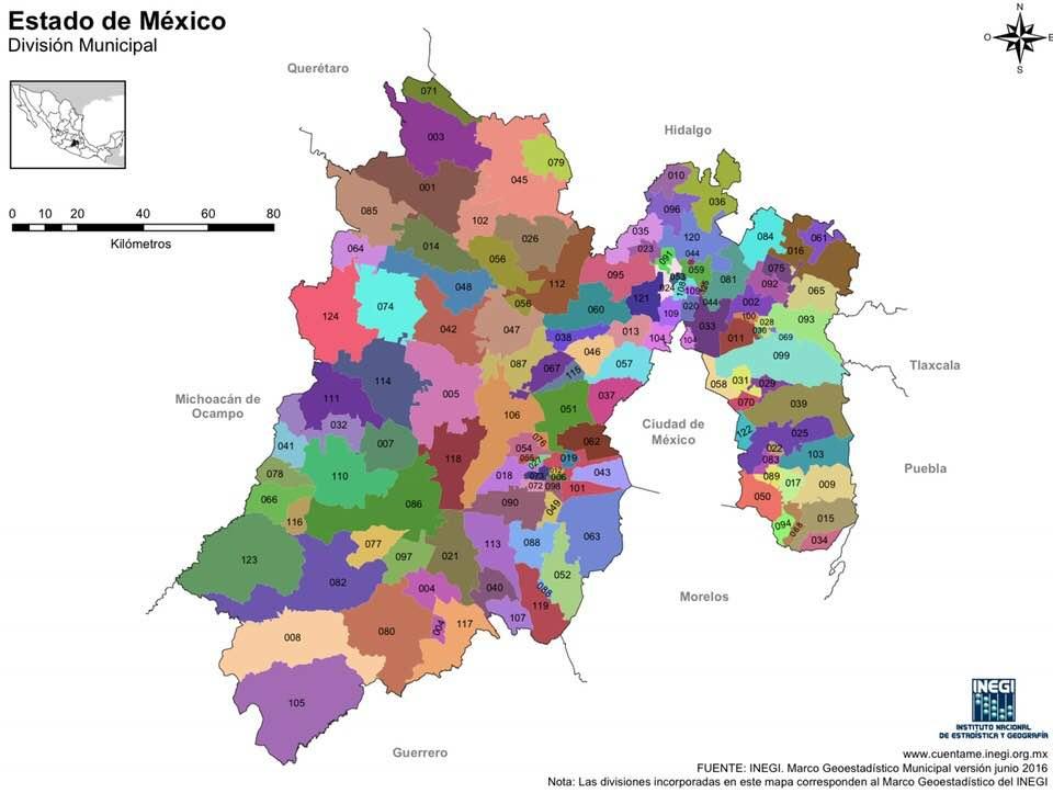 Mapa del Estado de México con nombres y para imprimir